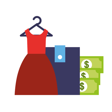red dress wallet money online shopping vector illustration