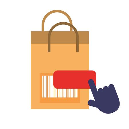 online shopping paper bag barcode clicking vector illustration