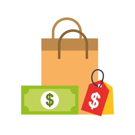 paper bag tag price money banknote online shopping vector illustration Illustration