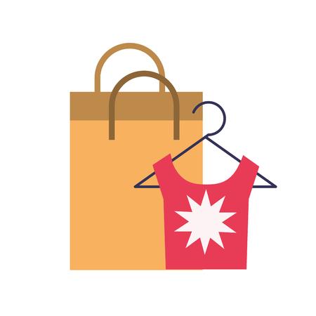 online shopping paper bag clothes fashion vector illustration Illustration
