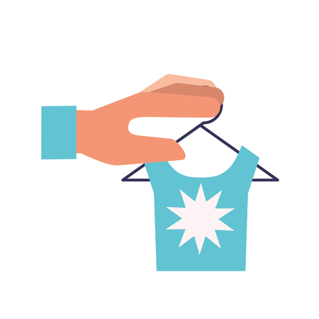 hand holding blue shirt on hanger online shopping vector illustration Foto de archivo - 109721774