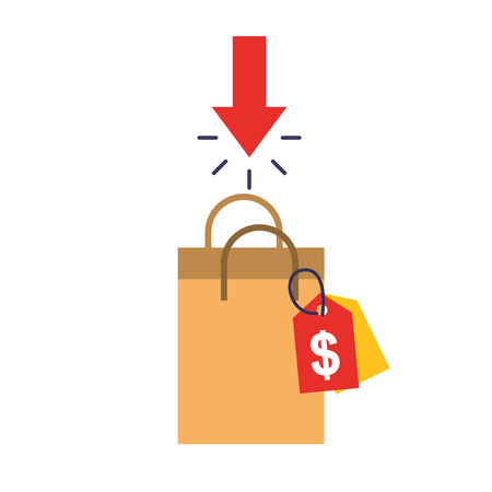 online shopping paper bag tag price vector illustration