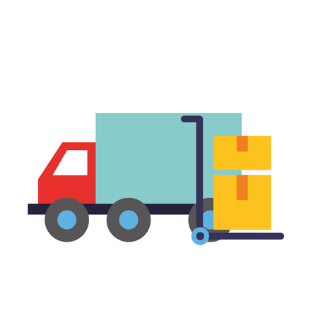 online shopping truck cart with cardboard boxes vector illustration