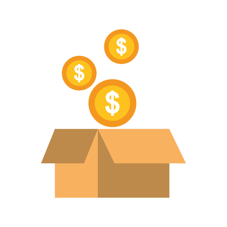 falling coins money in the cardboard box vector illustration