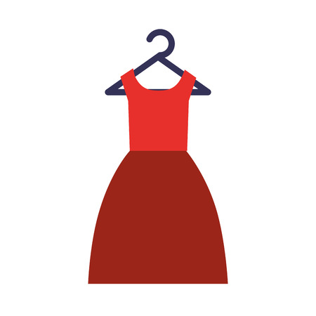 red dress clothes formal on hanger vector illustration