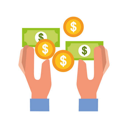 hands with banknote coins money vector illustration