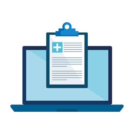 laptop with medical order vector illustration design
