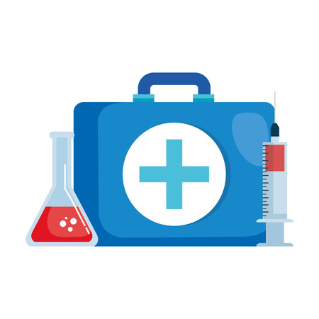 medical kit with tube test and injection vector illustration design