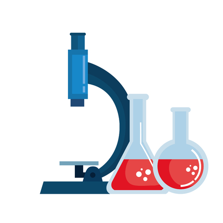 microscope lab with tube test vector illustration design