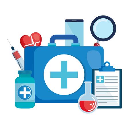 medical kit with set icons vector illustration design