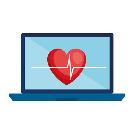 computer laptop with medical app vector illustration design