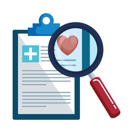 medical order with magnifying glass vector illustration design