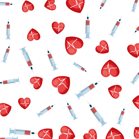 medical injection and hearts cardio pattern vector illustration design Ilustrace