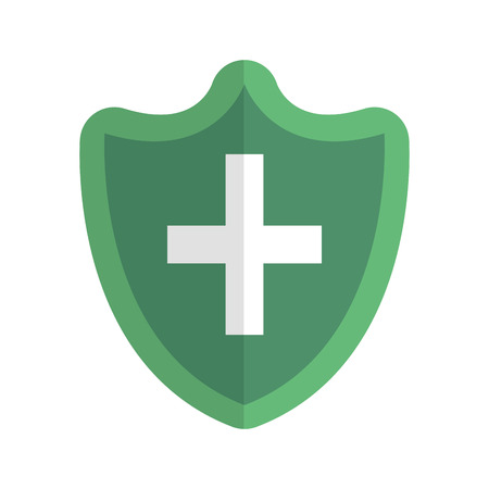 shield with cross icon vector illustration design  イラスト・ベクター素材