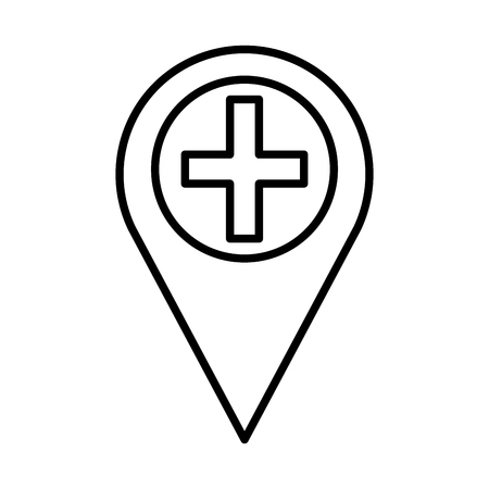 pin location with medical cross vector illustration design