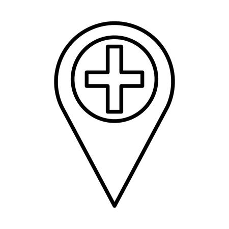 pin location with medical cross vector illustration design Zdjęcie Seryjne - 109721874