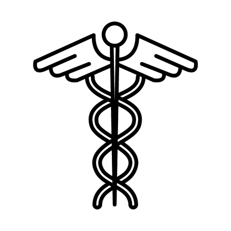 medical symbol with wings and snake vector illustration design