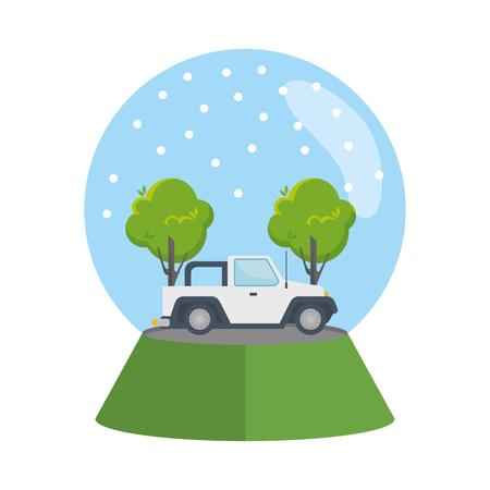 car 4x4 in snow sphere vector illustration design