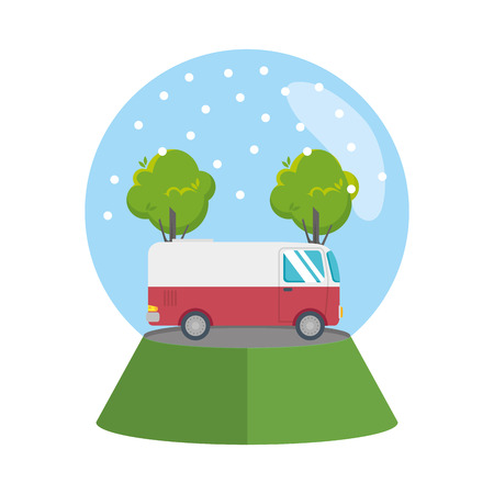 van vehicle with snow sphere vector illustration design