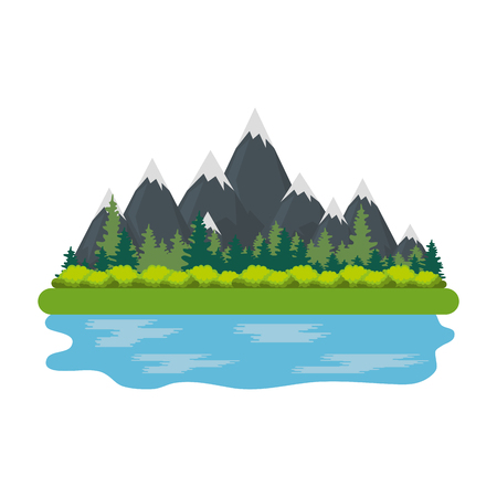 landscape with mountains and lake vector illustration design