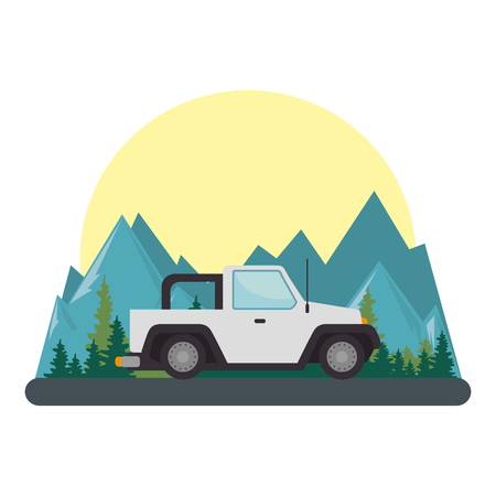 car 4x4 on the road vector illustration design