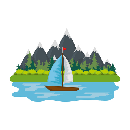 sailboat surfing in landscape scene vector illustration design Illustration