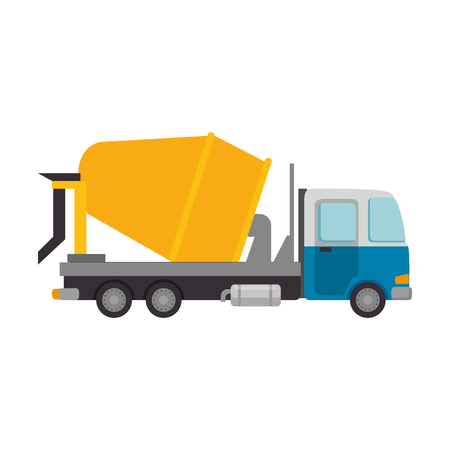 truck concrete mix vehicle isolated icon vector illustration design Illustration