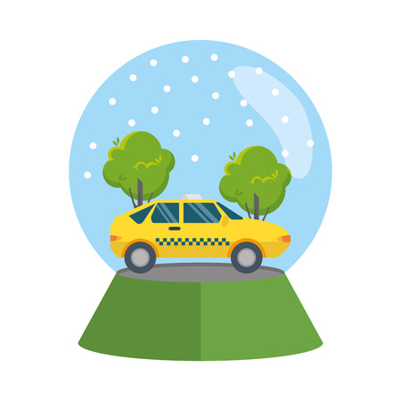 taxi car in snow sphere vector illustration design