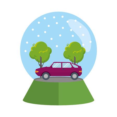 car vehicle in snow sphere vector illustration design