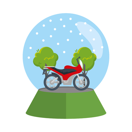 motorcycle in snow sphere vector illustration design