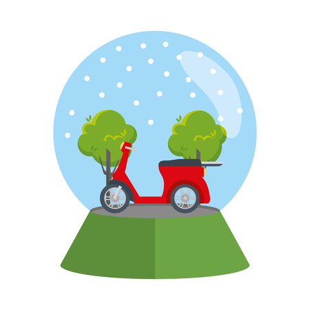 scooter motorcycle in snow sphere vector illustration design