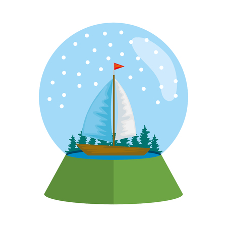 sailboat surfing in snow sphere vector illustration design