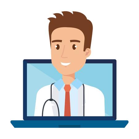 medical doctor in laptop avatar character vector illustration design Illusztráció