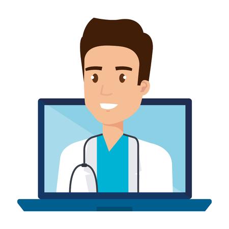 medical doctor in laptop avatar character vector illustration design Çizim