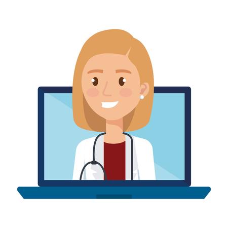female doctor in laptop avatar character vector illustration design Illustration