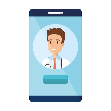 medical doctor in smartphone avatar character vector illustration design Vektorové ilustrace