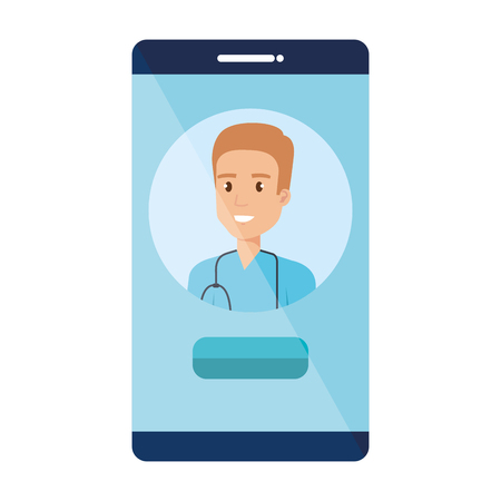 medical surgeon in smartphone avatar character vector illustration