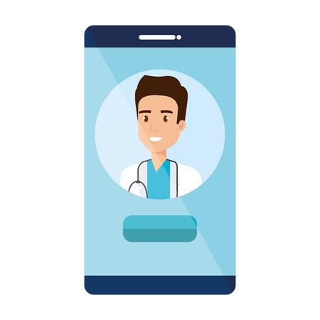medical doctor in smartphone avatar character vector illustration design Ilustração