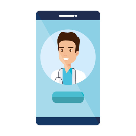 medical doctor in smartphone avatar character vector illustration design Illustration