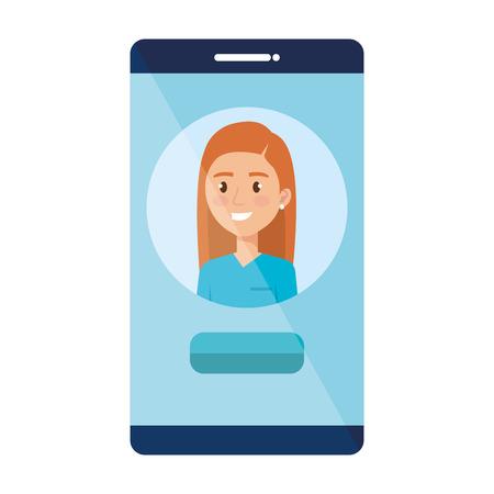 female surgeon in smartphone avatar character vector illustration design Illustration