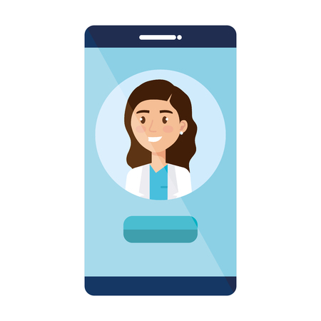 female doctor in smartphone avatar character vector illustration design