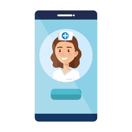 female doctor in smartphone avatar character vector illustration design