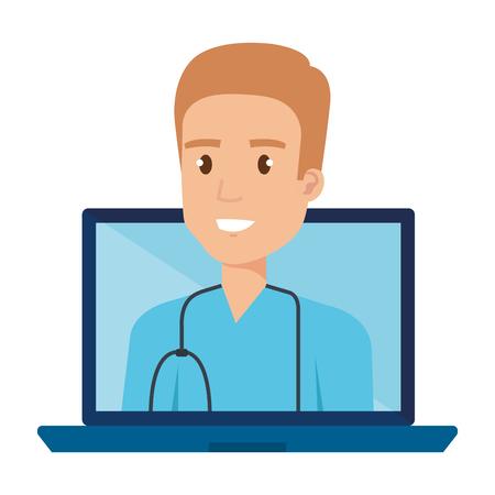 medical surgeon in laptop avatar character vector illustration design