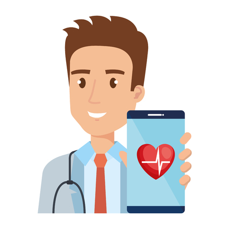 medical doctor with smartphone avatar character vector illustration
