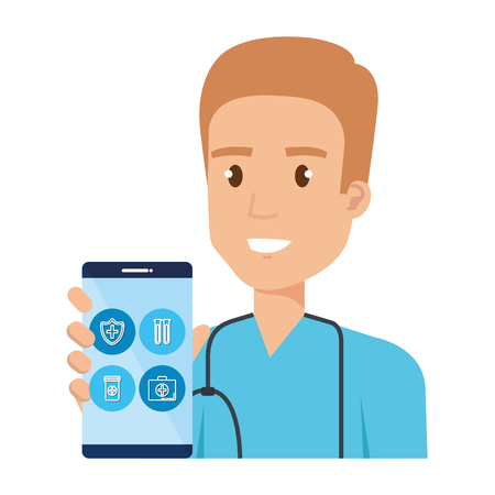 medical surgeon with smartphone avatar character vector illustration