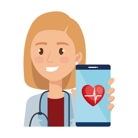 female doctor with smartphone avatar character vector illustration design Illustration