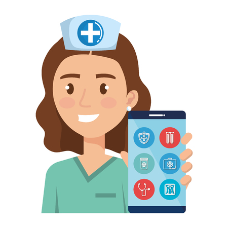 female nurse with smartphone avatar character vector illustration design