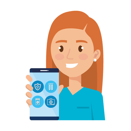 female surgeon with smartphone avatar character vector illustration Illustration