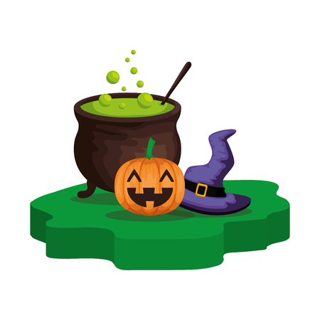 halloween cauldron with pumpkin and witch hat vector illustration design