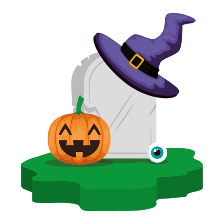 halloween gravestone with pumpkin and witch hat vector illustration